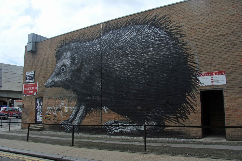 Hedgehog - Street Art by ROA in East London