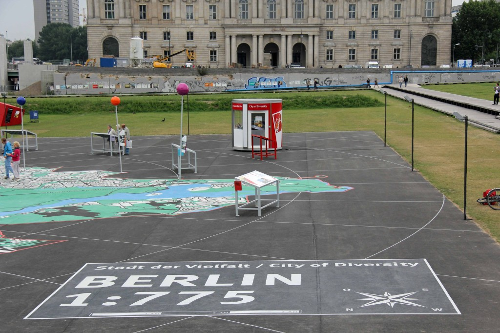 The 1:775 Scale on the map on the Schlossplatz, the City of Diversity Exhibit part of Berlin's 775th Anniversary celebrations