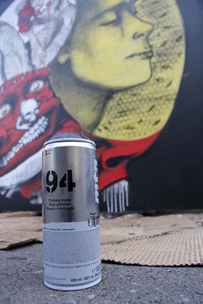 Spray Can and Artwork by Unknown Artist at Stroke Urban Art Fair 2012 in Berlin
