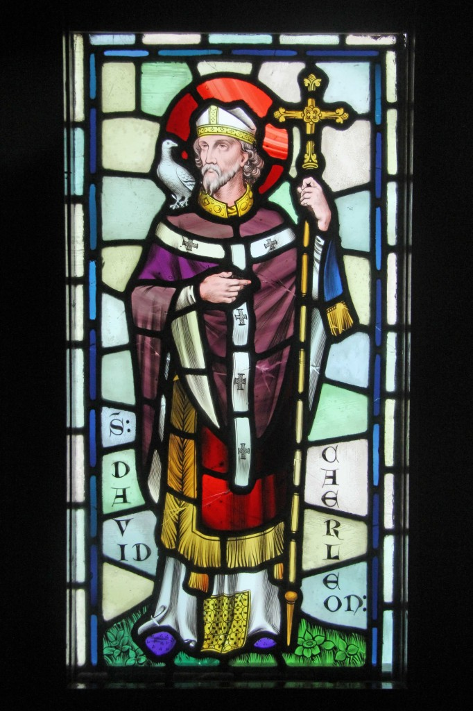 A stained glass panel depicting St David at Castell Coch (Red Castle) near Cardiff