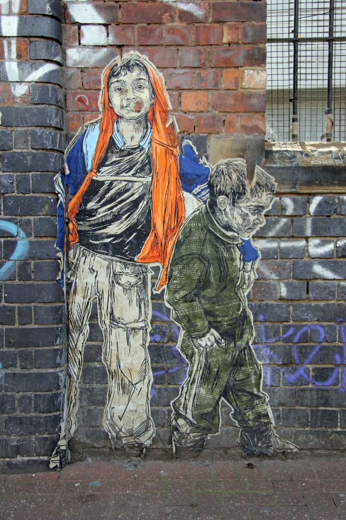 Brothers - Street Art by Swoon in East London