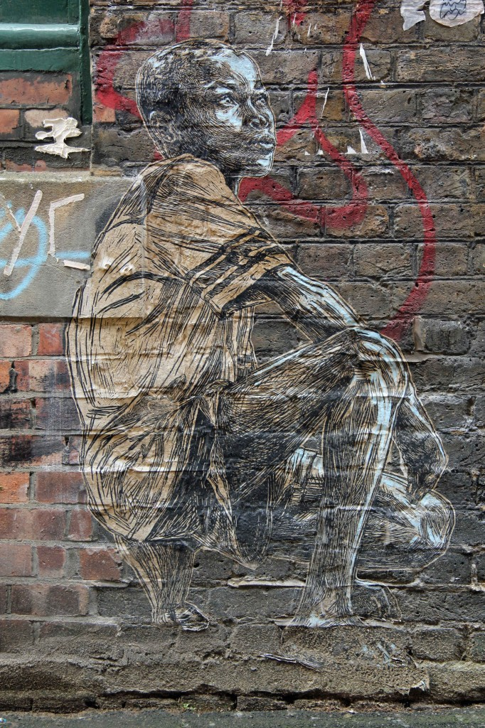 Kneeling Child - Street Art by Swoon in East London