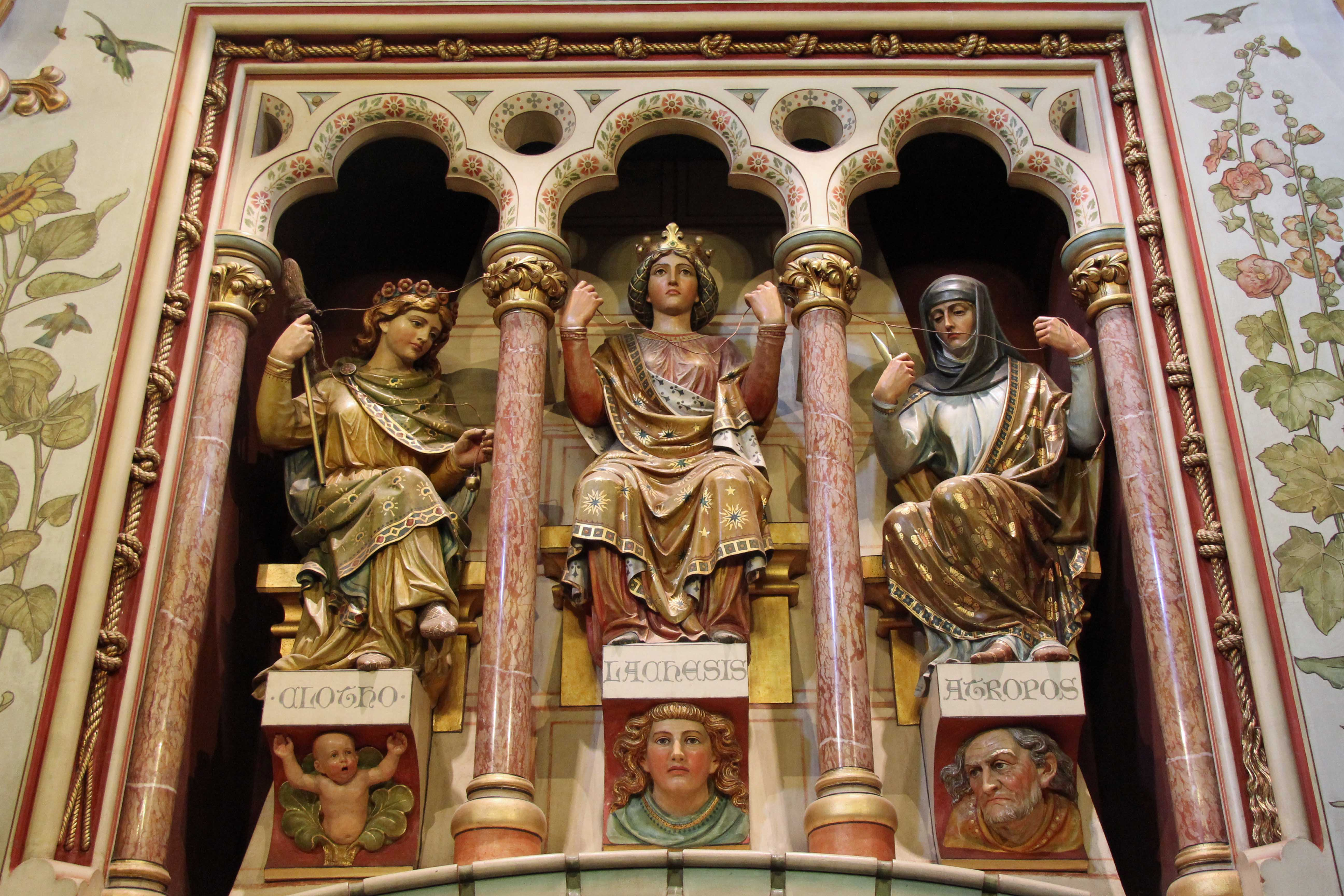 The Three Fates above the fireplace in The Drawing Room at Castell Coch (Red Castle) near Cardiff
