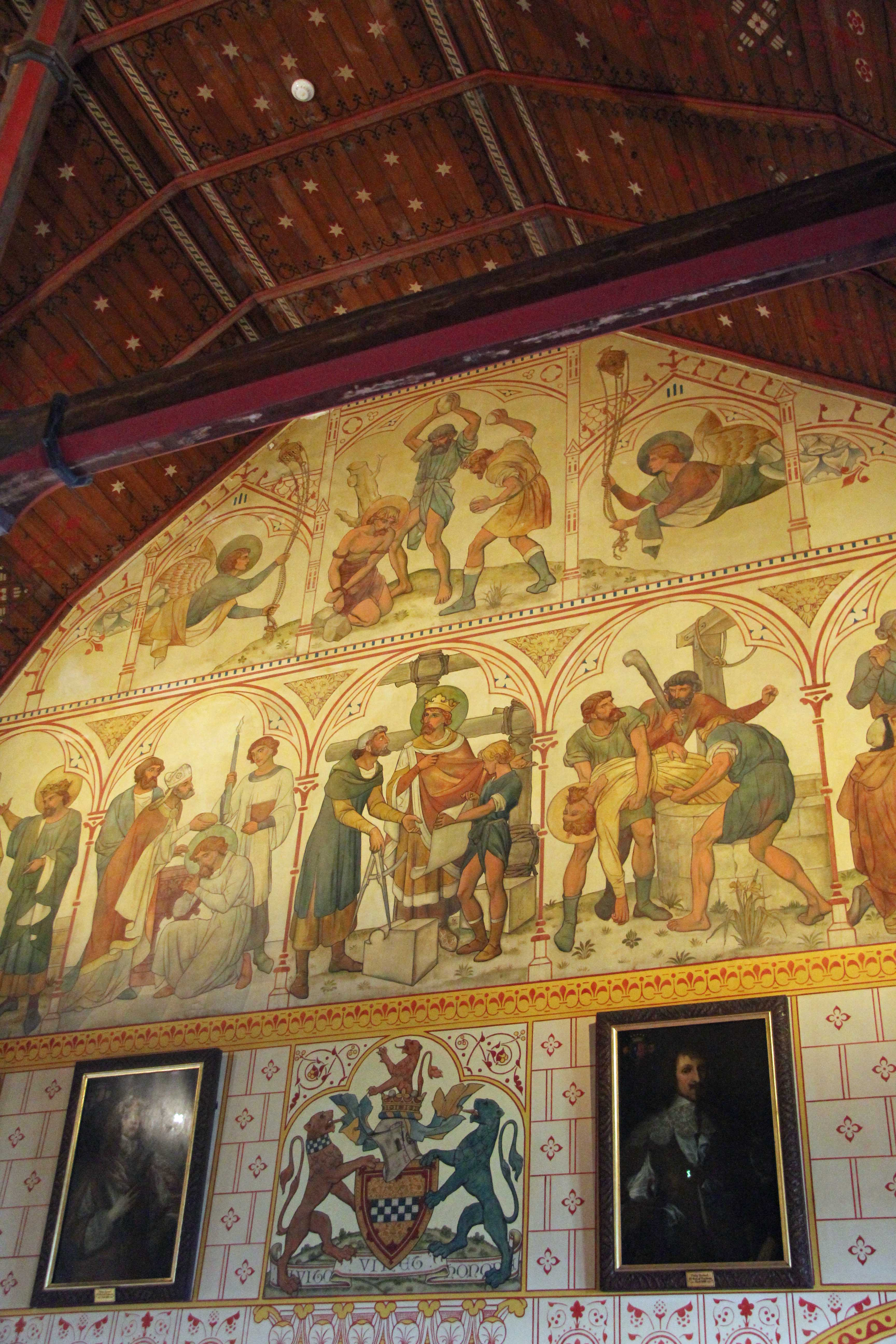 The wall of The Banqueting Hall at Castell Coch (Red Castle) near Cardiff