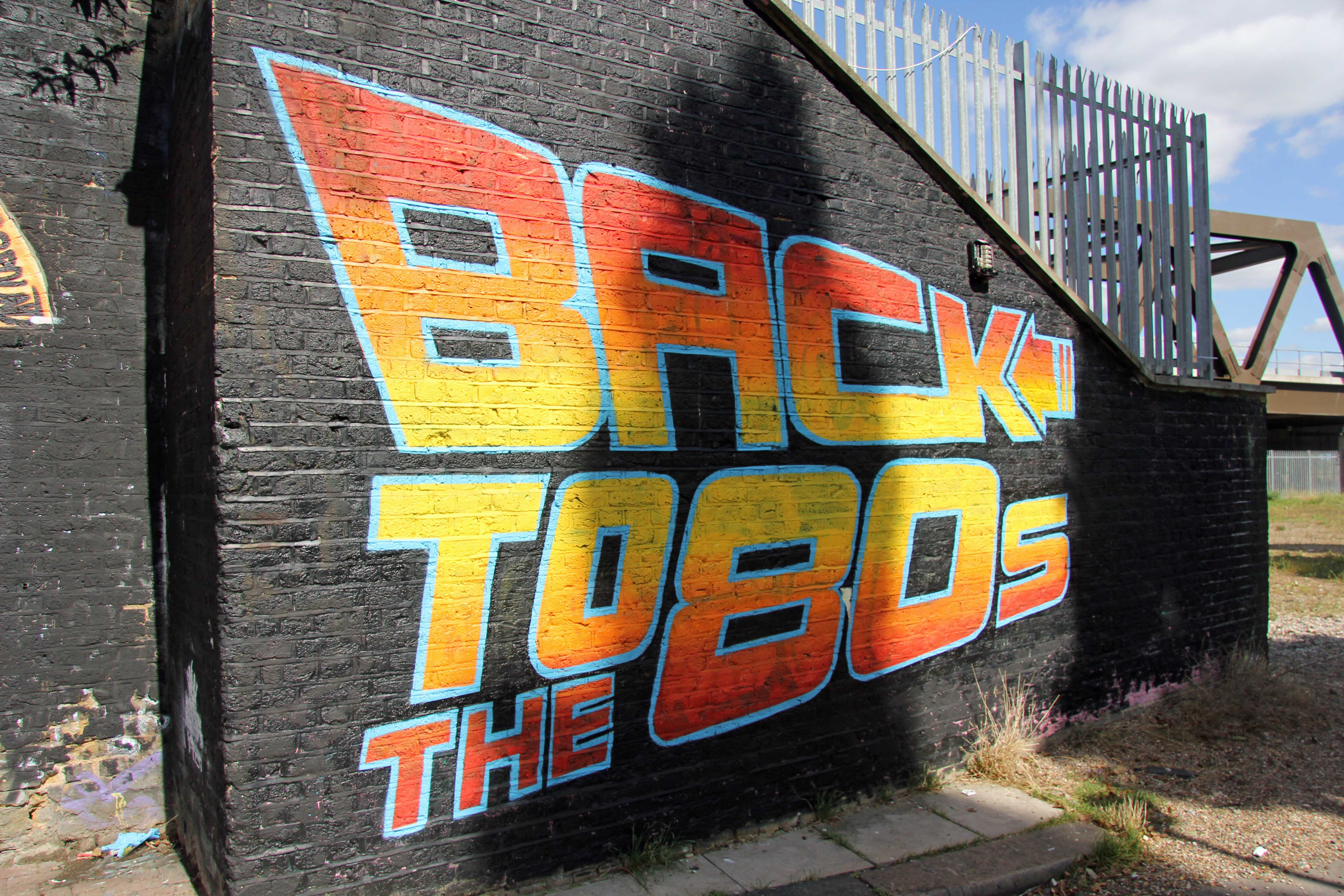 Back to the 80s street art by unknown artist in east london