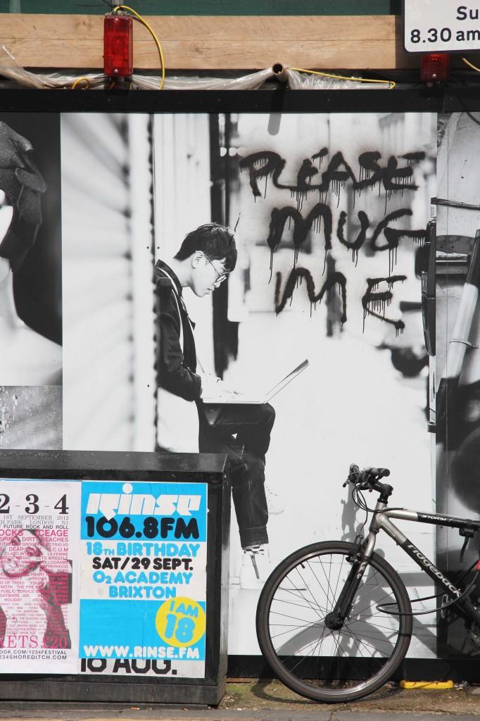 Please Mug Me - Street Art by Unknown Artist in East London