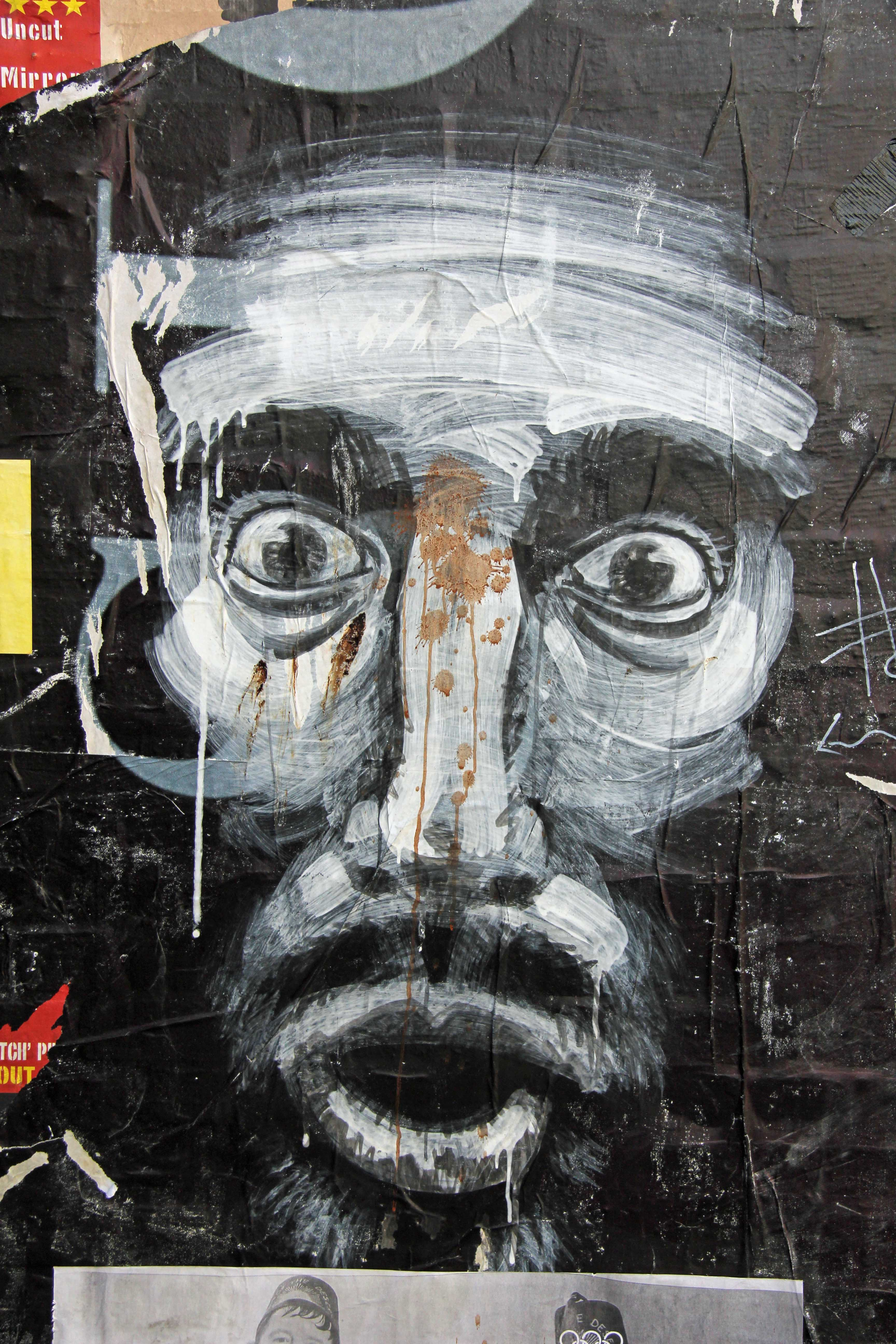 Staring Man - Street Art by Unknown Artist in East London