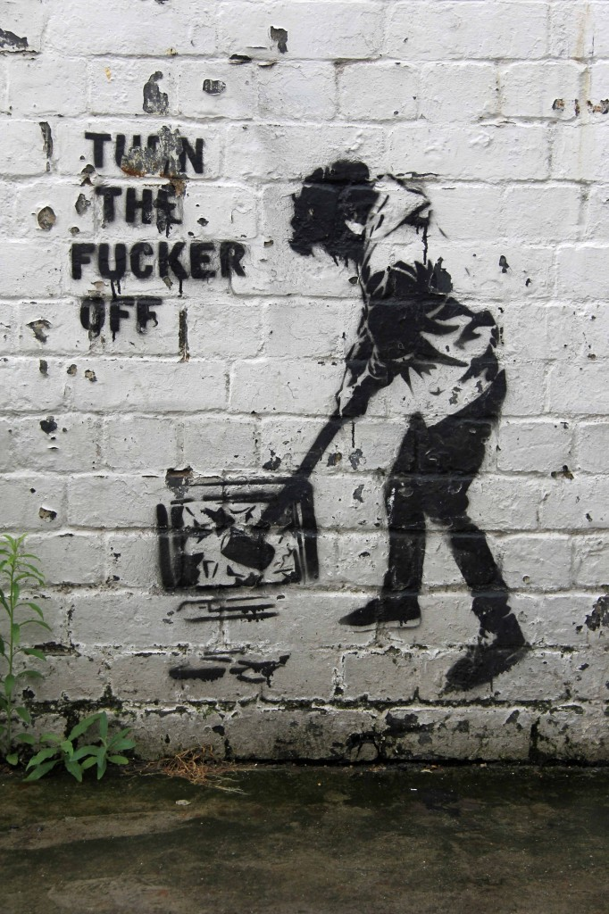 Turn The Fucker Off: Street Art by Unknown Artist in London