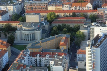 The Volksbühne and surrounding area in Berlin from the Fernehturm (TV Tower) at Alexanderplatz