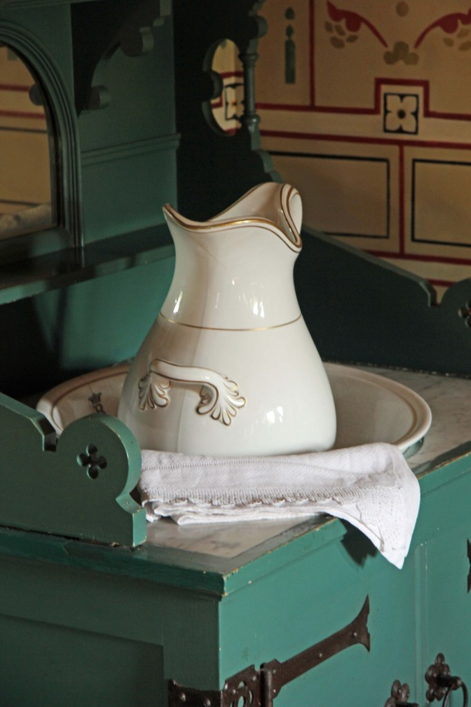 Washstand in the Marquess of Bute's Bedroom at Castell Coch (Red Castle) near Cardiff