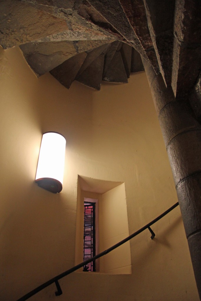 A winding staircase in the Well Tower at Castell Coch (Red Castle) near Cardiff