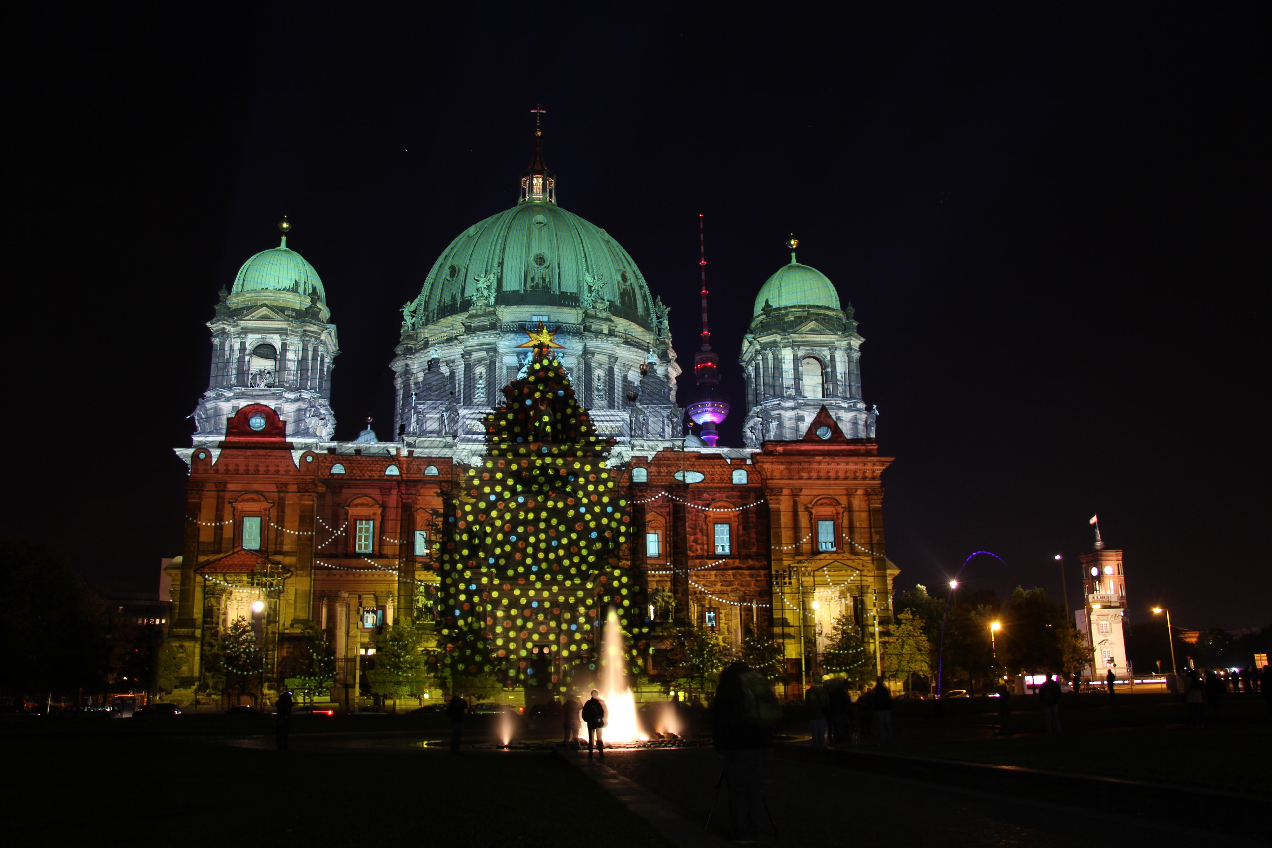 The Berliner Dom (Berlin Cathedral) with a Christmas Tree projection by Urlaubsland Österreich (Tourist Country Austria) during the Festival of Lights