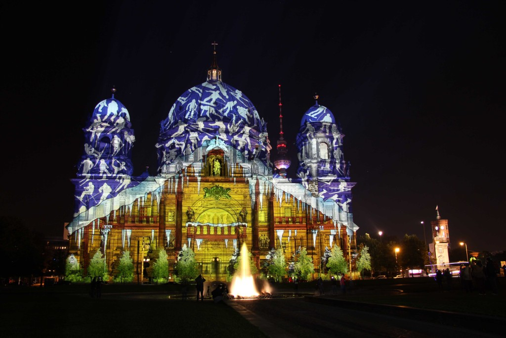 The Berliner Dom (Berlin Cathedral) with a wintry projection by Urlaubsland Österreich (Tourist Country Austria) during the Berlin Festival of Lights