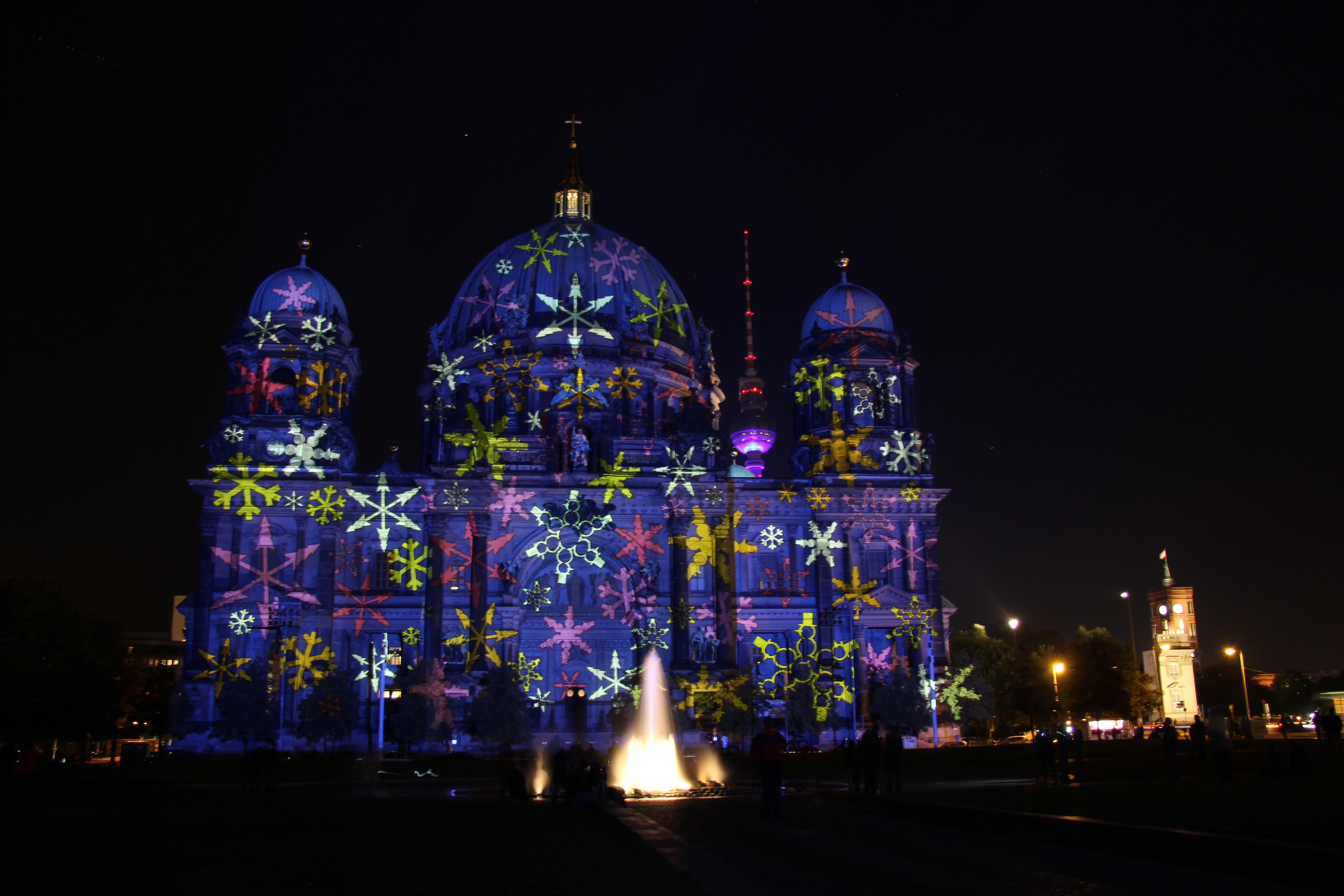 The Berliner Dom (Berlin Cathedral) with a snowflakes projection by Urlaubsland Österreich (Tourist Country Austria) during the Festival of Lights