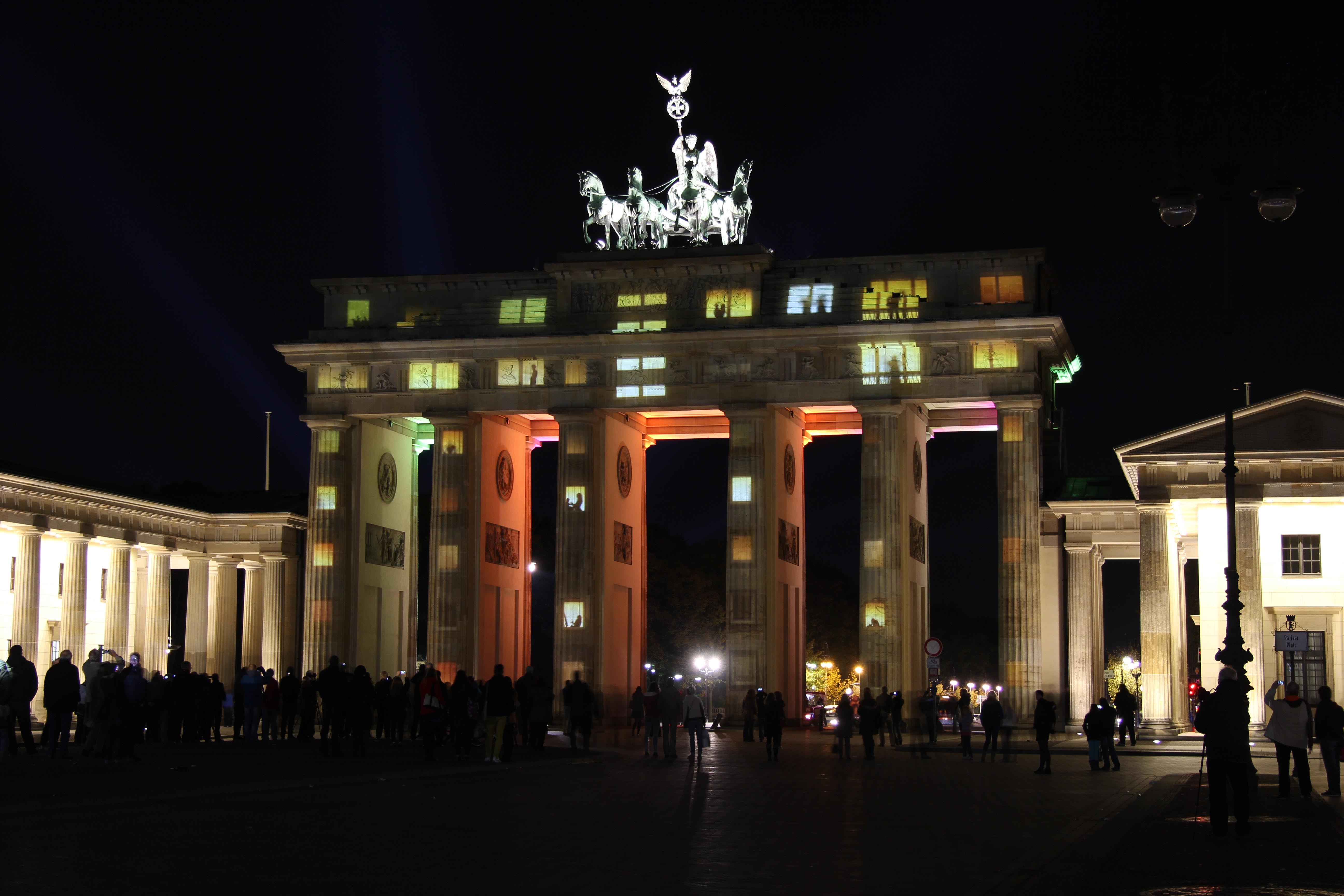 Brandenburger Tor (The Brandenburg Gate) made to look like apartments during the Festival of Lights in Berlin