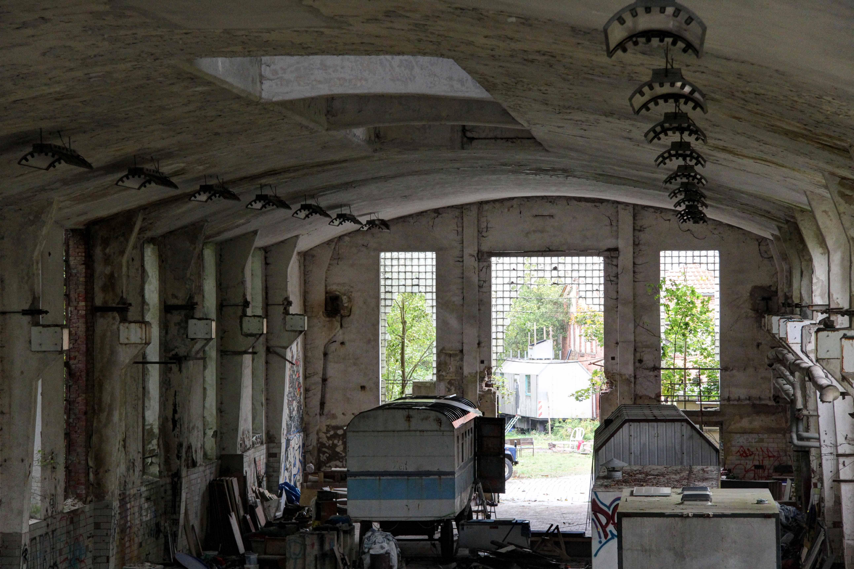 Caravans at Papierfabrik Wolfswinkel, an abandoned paper mill near Berlin