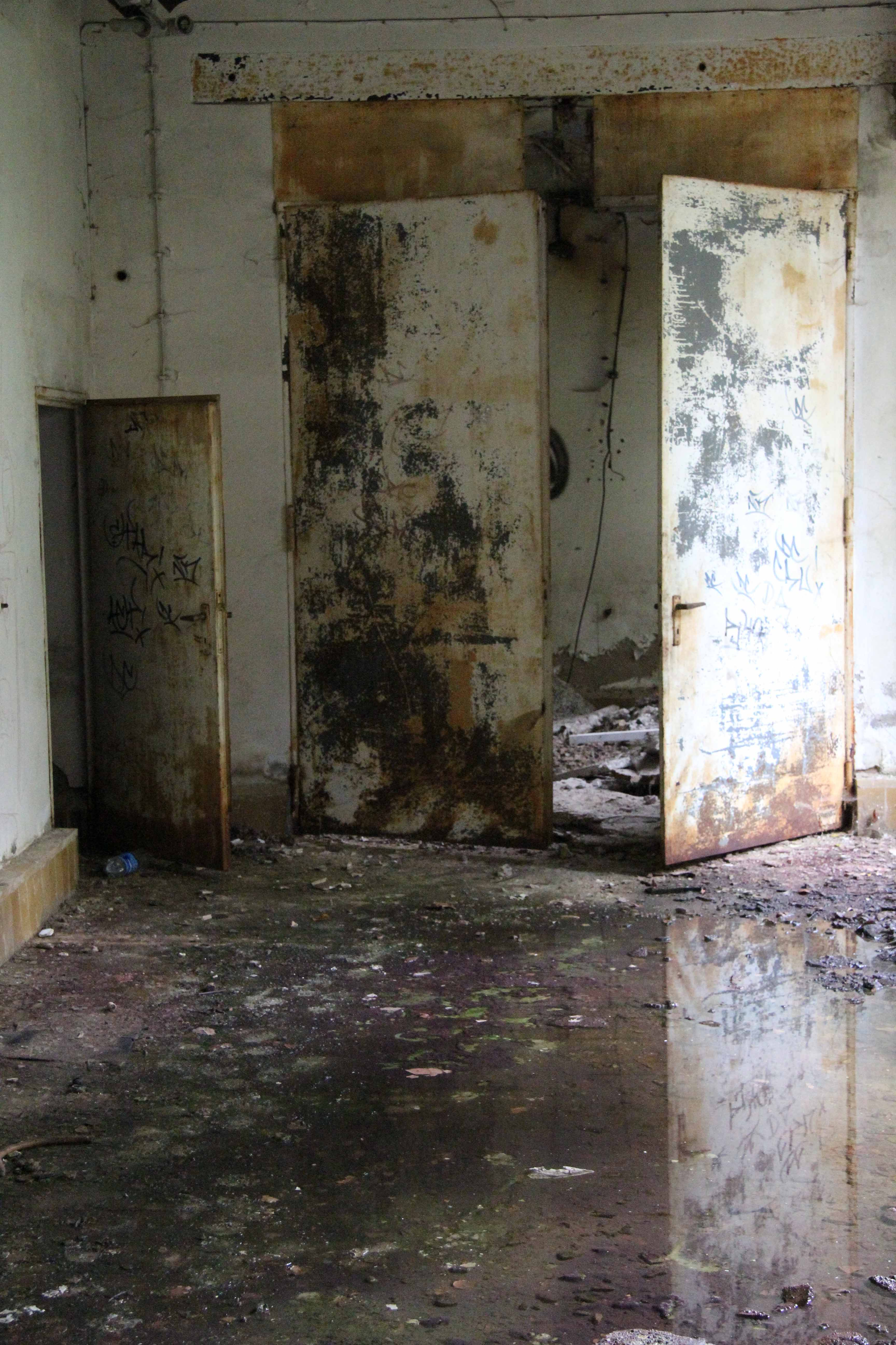 Door and Reflection at Papierfabrik Wolfswinkel, an abandoned paper mill near Berlin