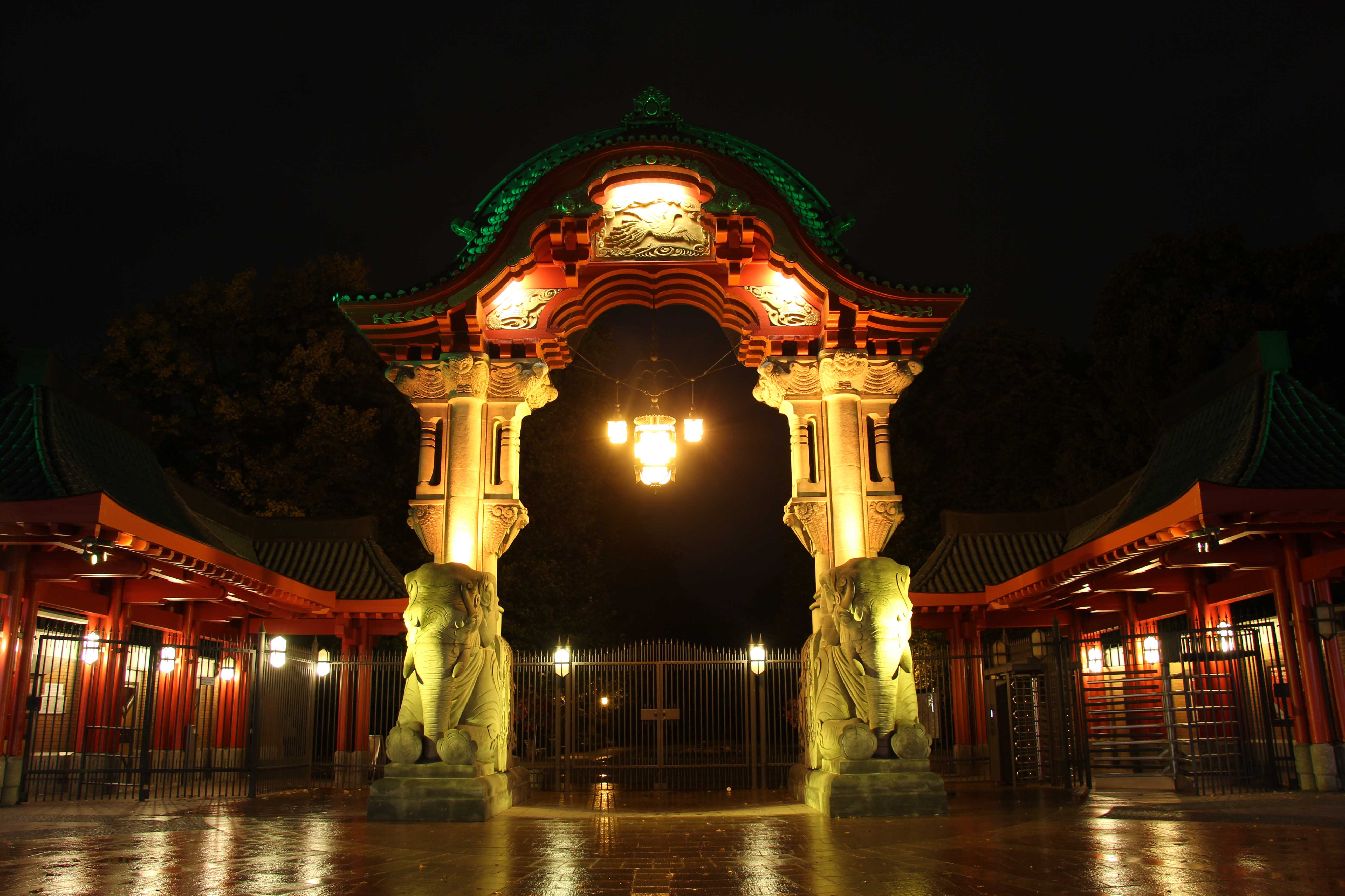 Elefantentor am Zoologischer Garten (The Elephant Gate at Berlin Zoo) lit up during the Festival of Lights in Berlin