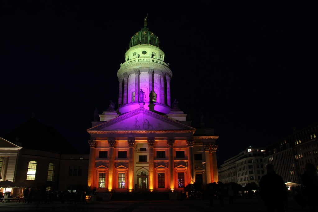 Französischer Dom (French Cathedral) lit up in many colours during the Berlin Festival of Lights