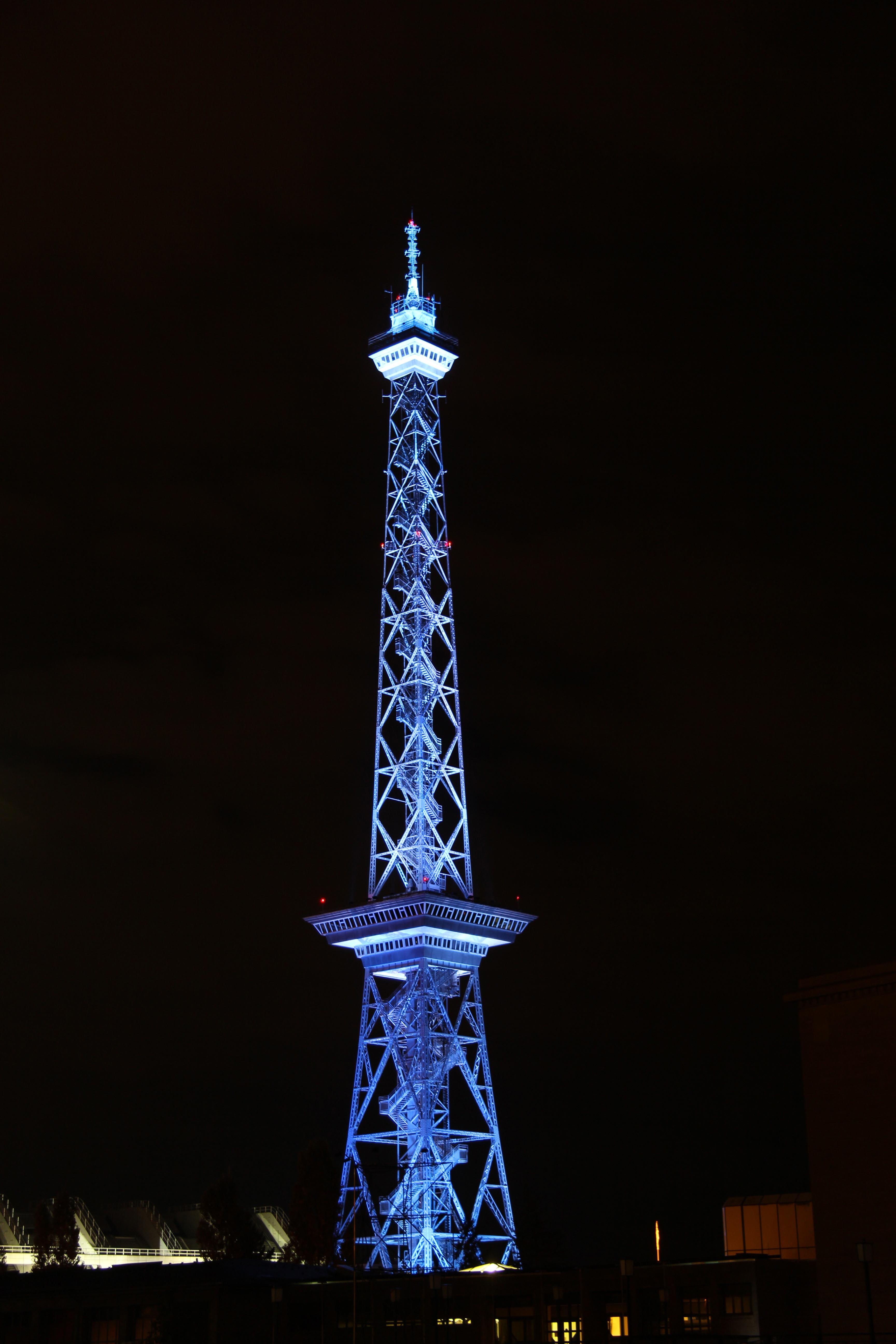 Funkturm (West Berlin TV Tower) lit up during the Festival of Lights in Berlin