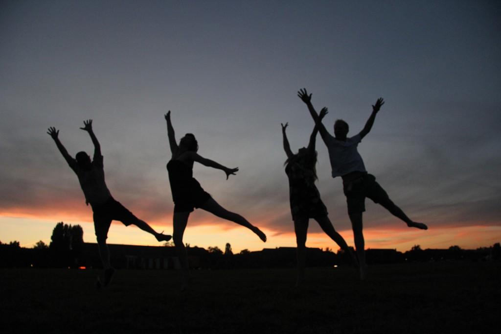 Jumping at Sunset at Tempelhofer Freiheit in Berlin