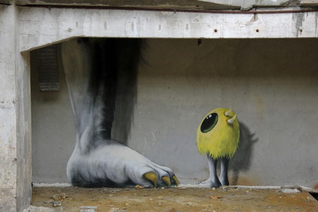 Big Foot: Street Art by Kim Köster at Papierfabrik Wolfswinkel near Berlin