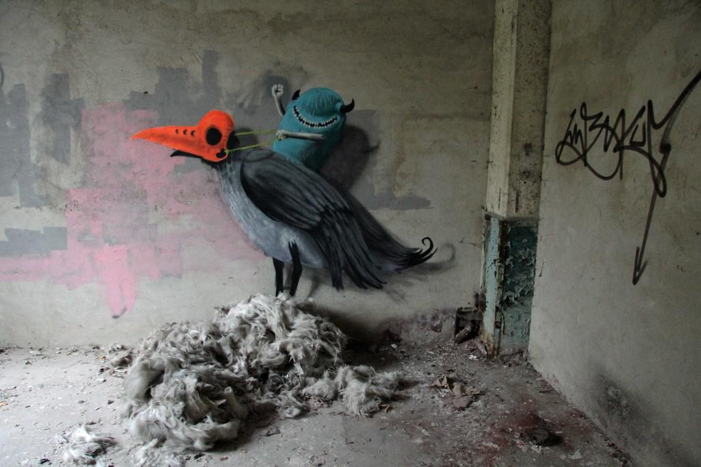 Bird Ride: Street Art by Kim Köster at Papierfabrik Wolfswinkel near Berlin