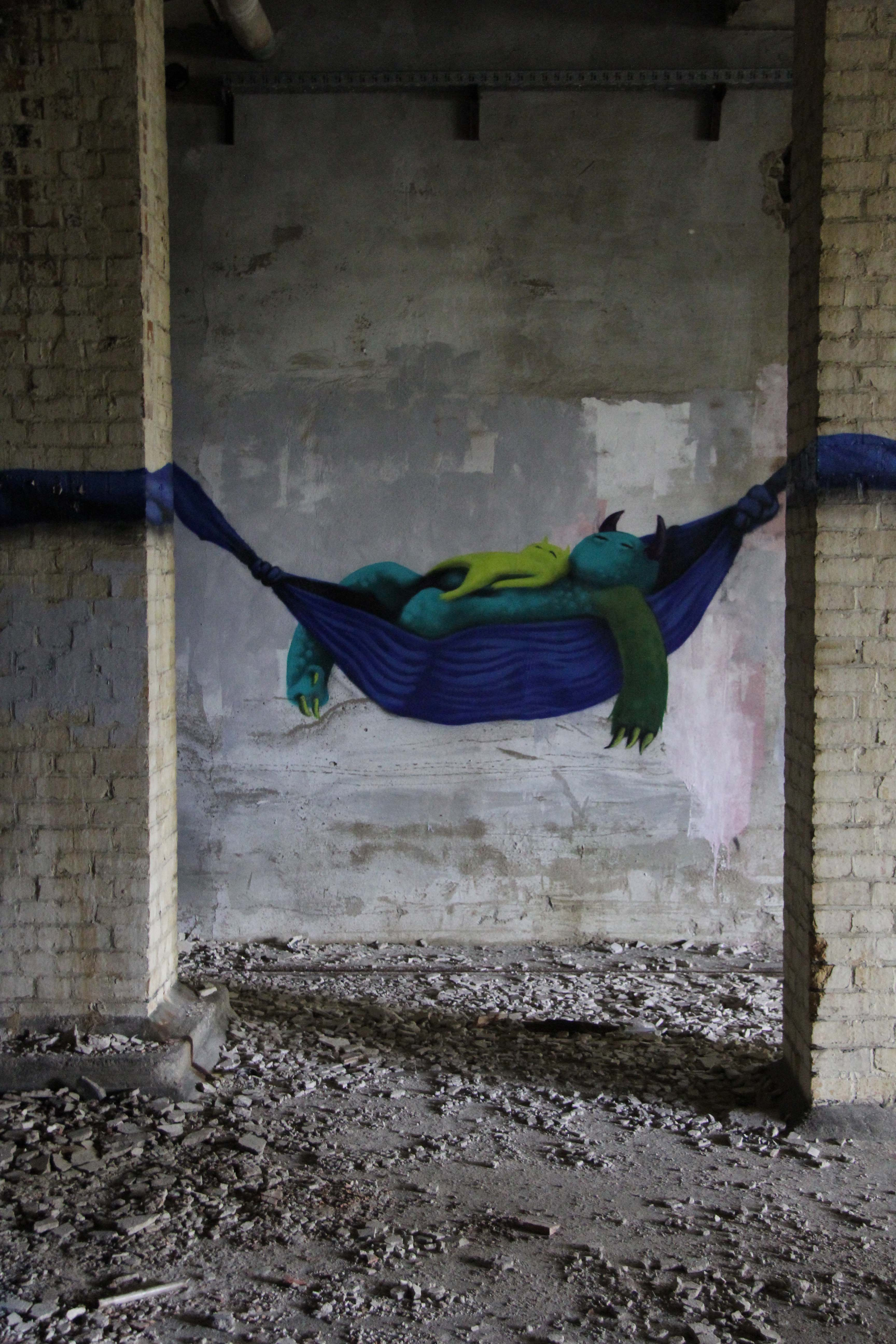 Hammock Time: Street Art by Kim Köster at Papierfabrik Wolfswinkel near Berlin