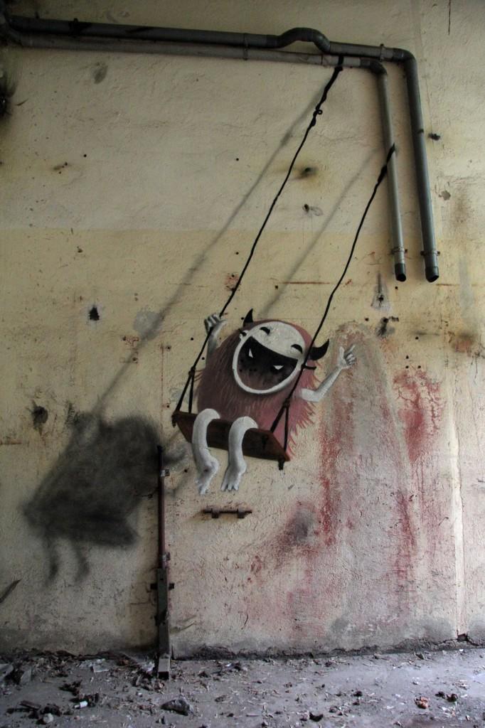 Monster Swing: Street Art by Kim Köster at Papierfabrik Wolfswinkel near Berlin