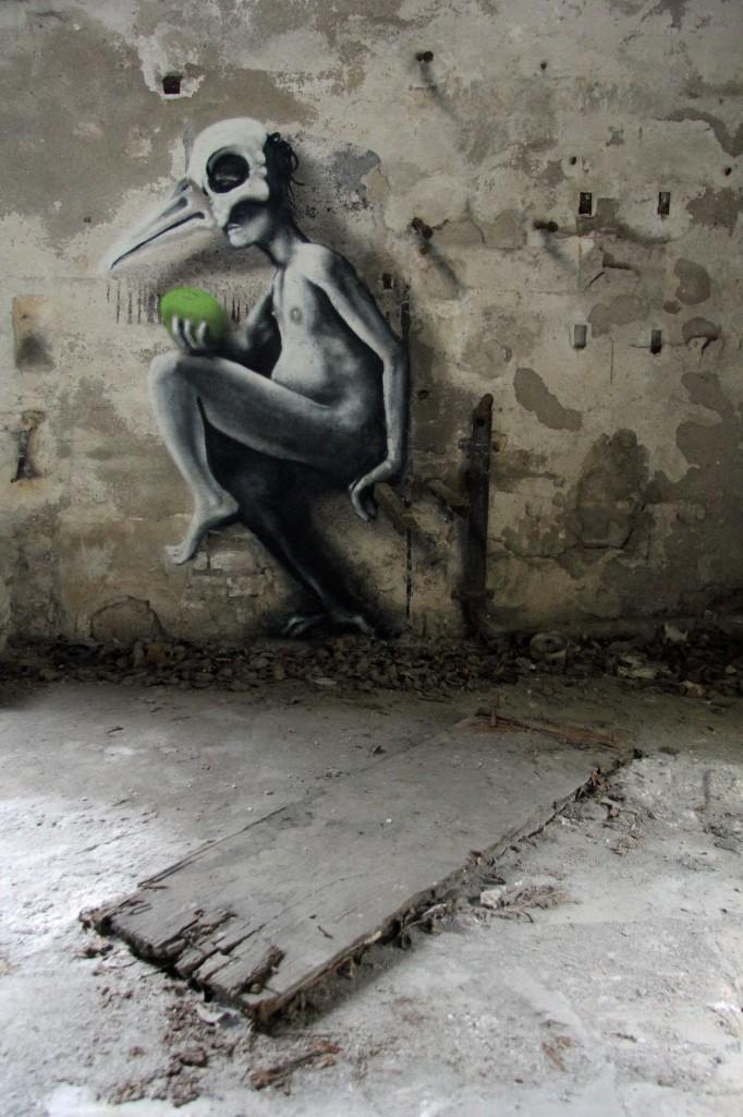 Perched: Street Art by Kim Köster at Papierfabrik Wolfswinkel near Berlin