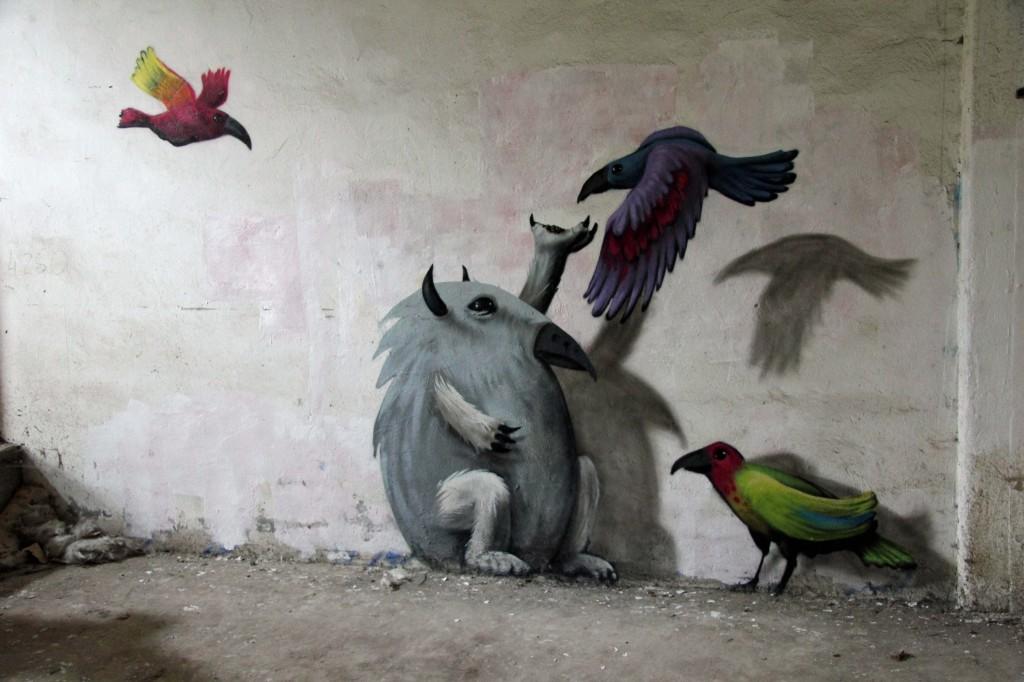 The Birdman of Wolfswinkel: Street Art by Kim Köster at Papierfabrik Wolfswinkel near Berlin