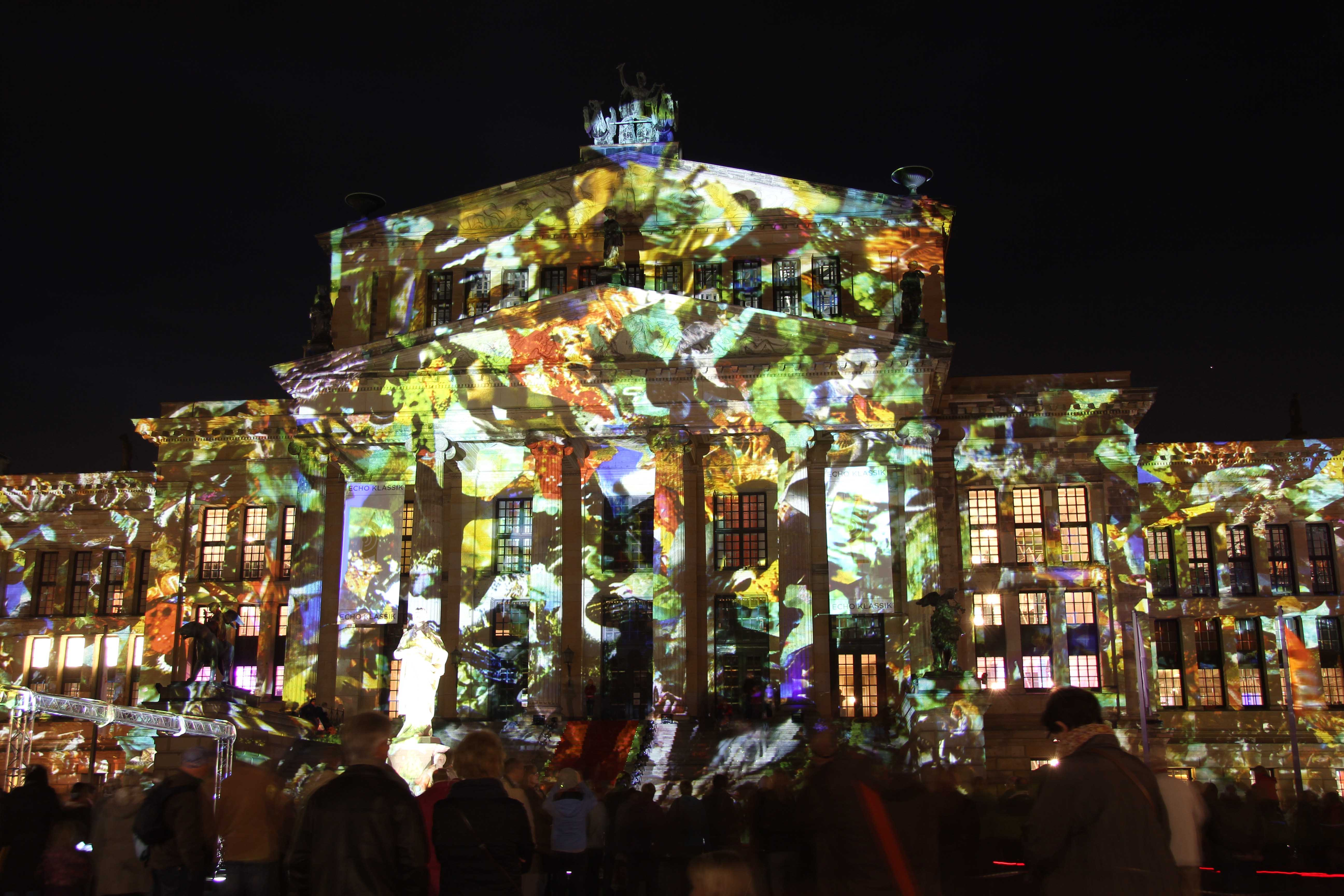 A video projection on the Konzerthaus Berlin (Berlin Concert House) during the Festival of Lights in Berlin