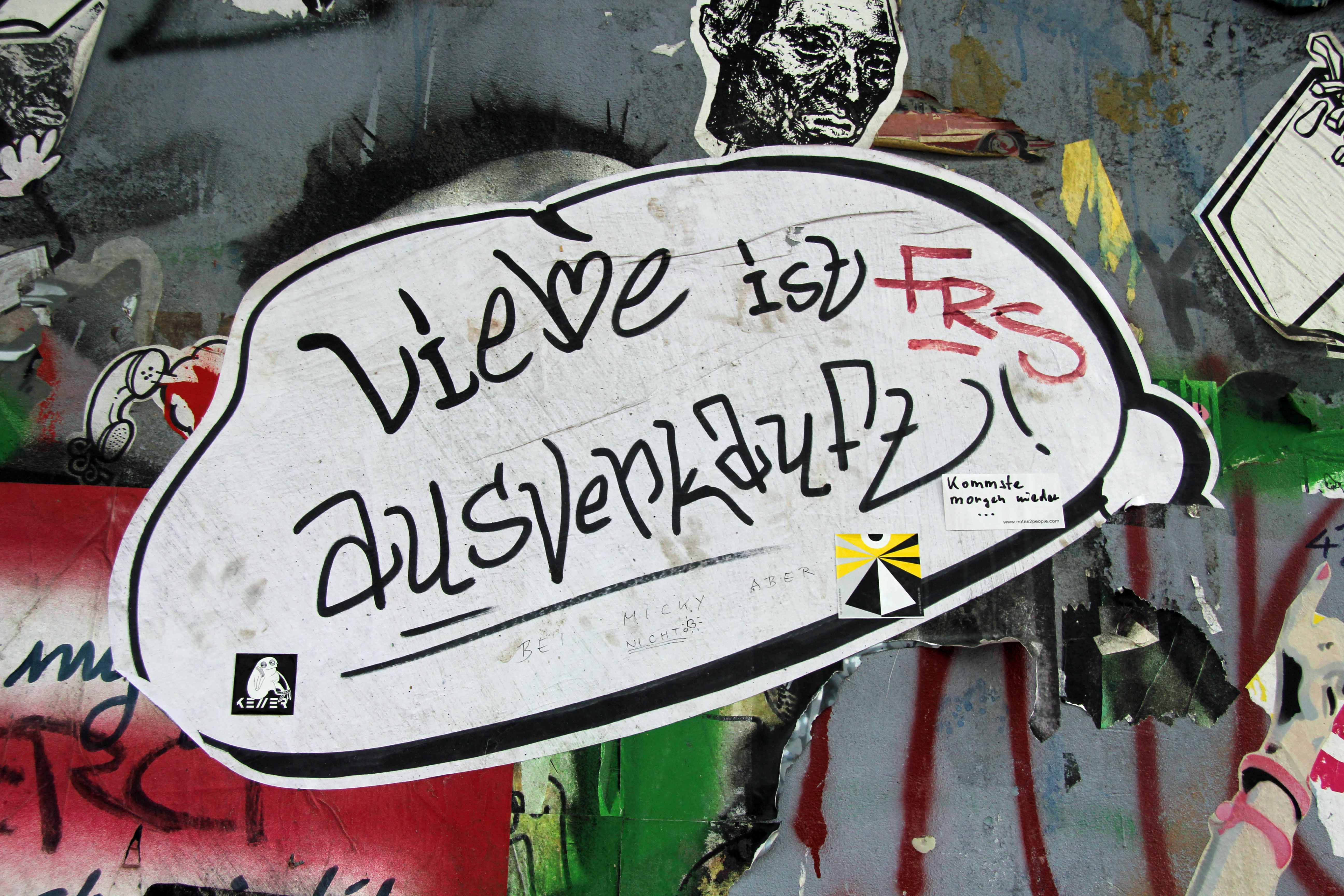 Liebe ist ausverkauft! (Love is Sold Out): Street Art by Unknown Artist in Berlin