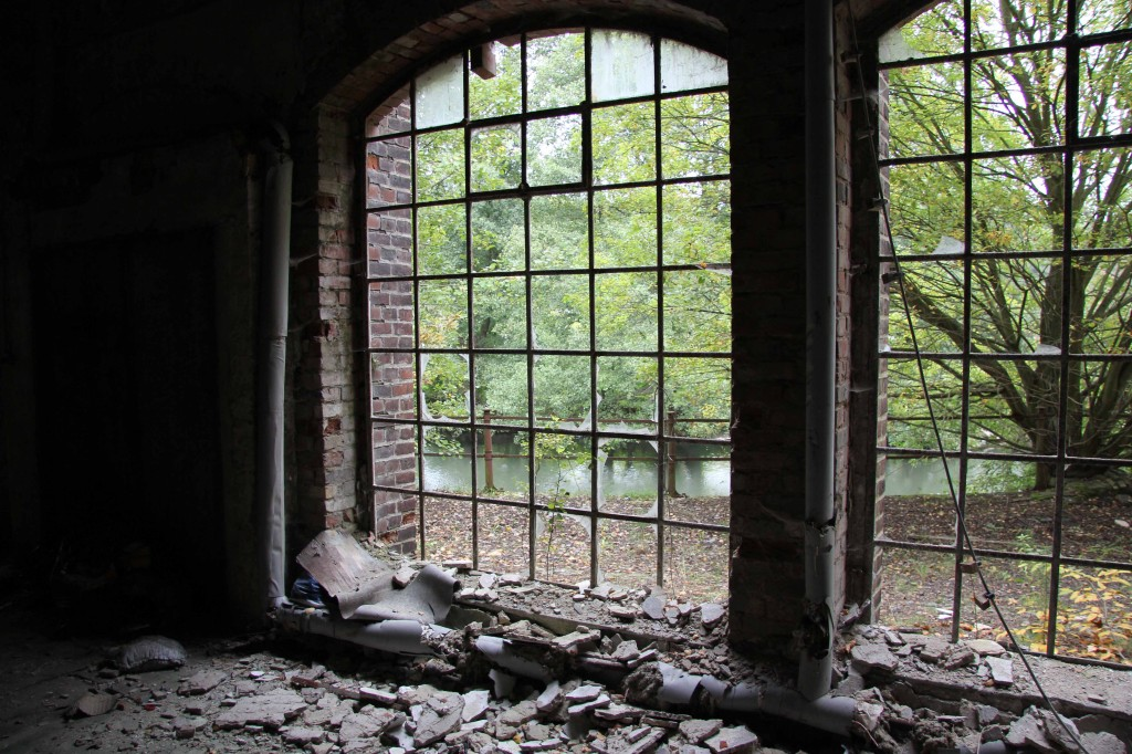 Looking out on the river at Papierfabrik Wolfswinkel, an abandoned paper mill near Berlin