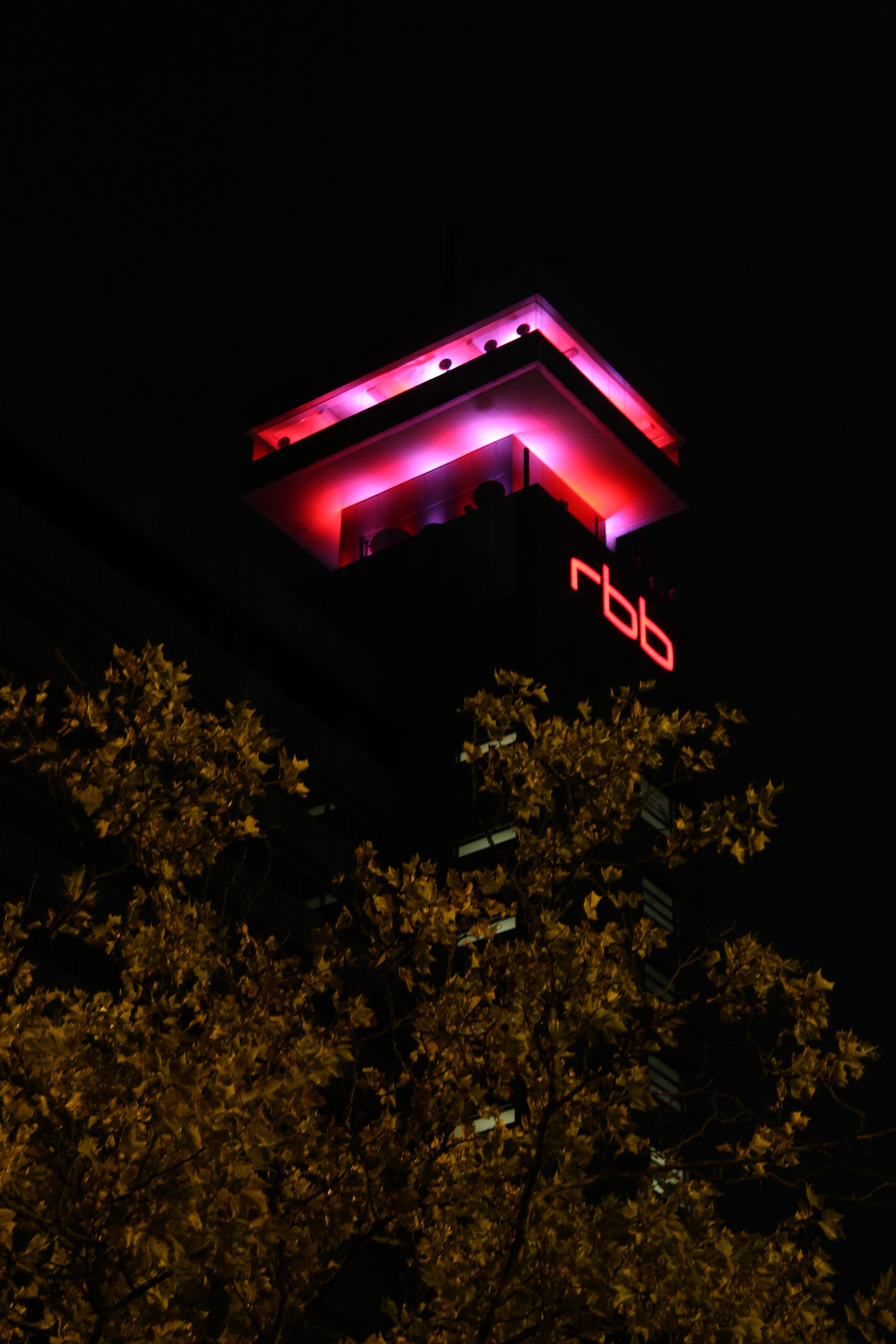 The roof terrace of the RBB (Rundfunk Berlin Brandenburg) building lit up during the Festival of Lights in Berlin