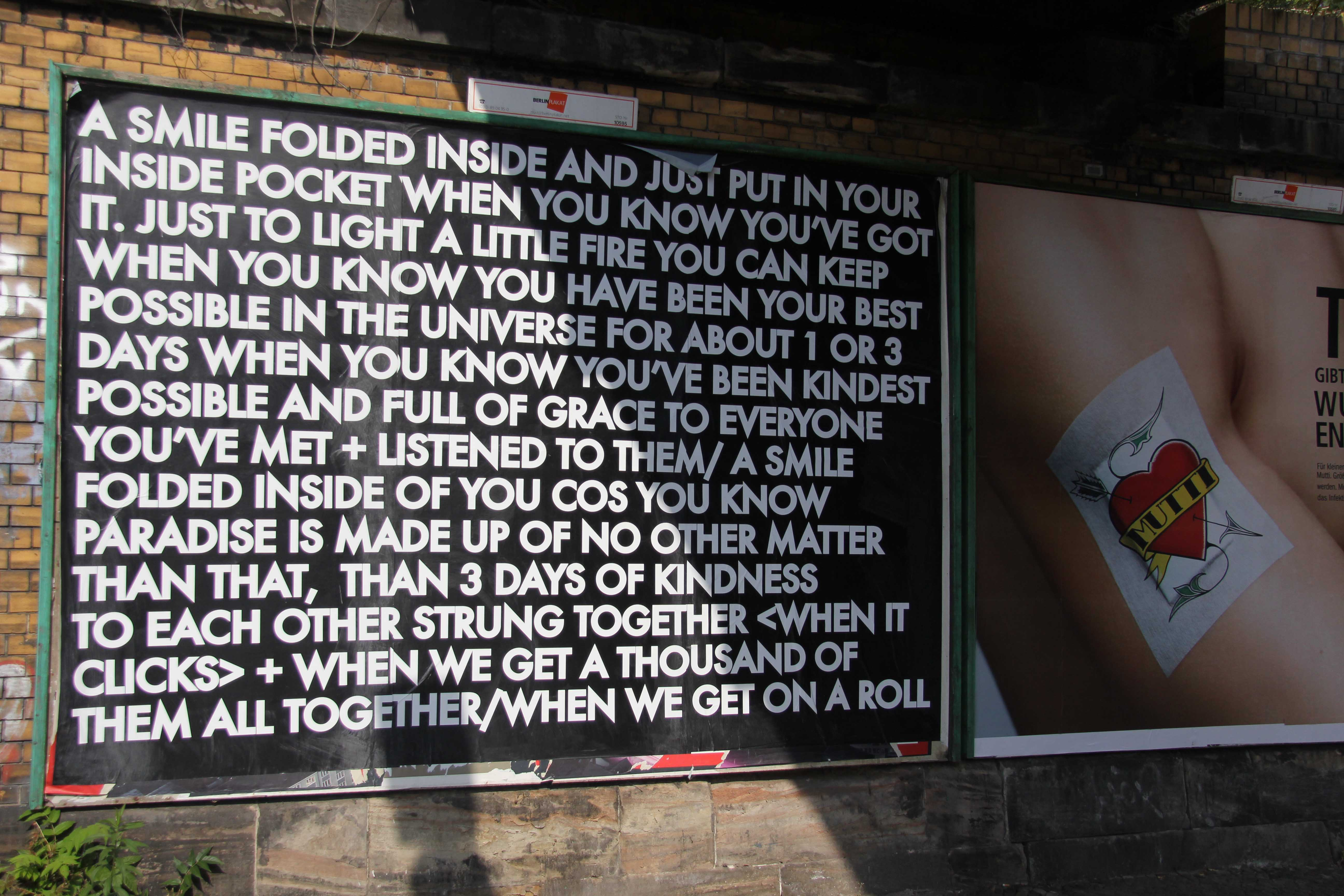 A Smile Folded Inside - Robert Montgomery Billboard on Yorckstrasse as part of Echoes of Voices in the High Towers in Berlin