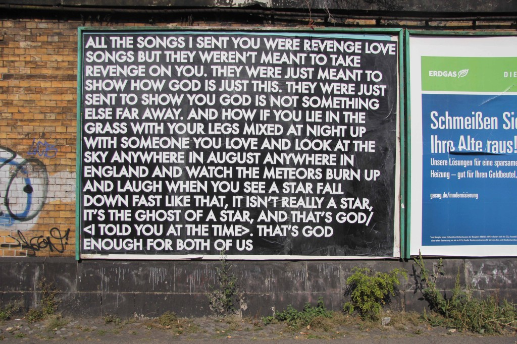 All The Songs I Sent You - Robert Montgomery Billboard on Yorckstrasse as part of Echoes of Voices in the High Towers in Berlin