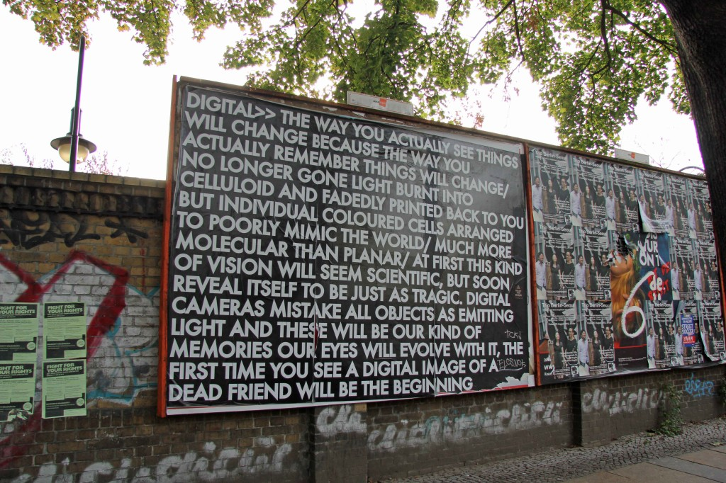 Digital>> The Way You Actually See Things - Robert Montgomery Billboard on Görlitzer Strasse as part of Echoes of Voices in the High Towers in Berlin
