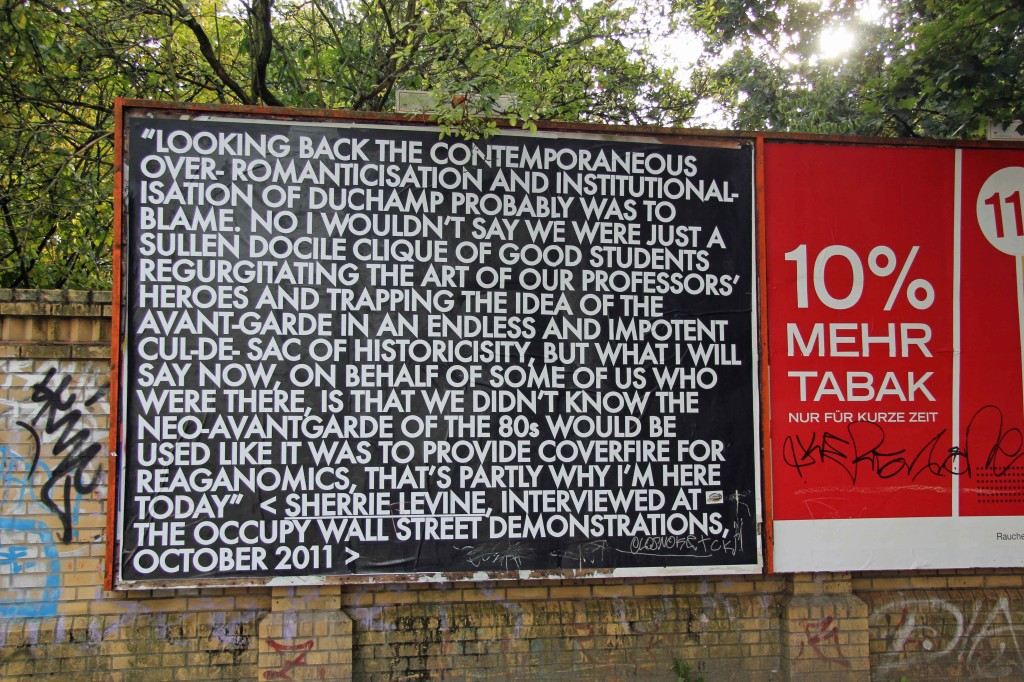 Looking Back - Robert Montgomery Billboard on Görlitzer Strasse as part of Echoes of Voices in the High Towers in Berlin