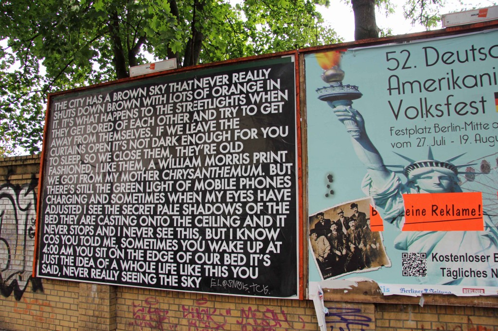 he City Has A Brown Sky - Robert Montgomery Billboard on Görlitzer Strasse as part of Echoes of Voices in the High Towers in Berlin