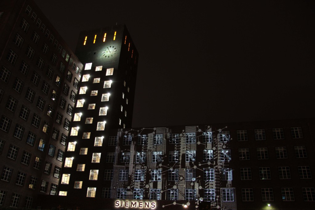 A light projection on the Siemens AG building at Siemensdamm 50 during the Berlin Festival of Lights