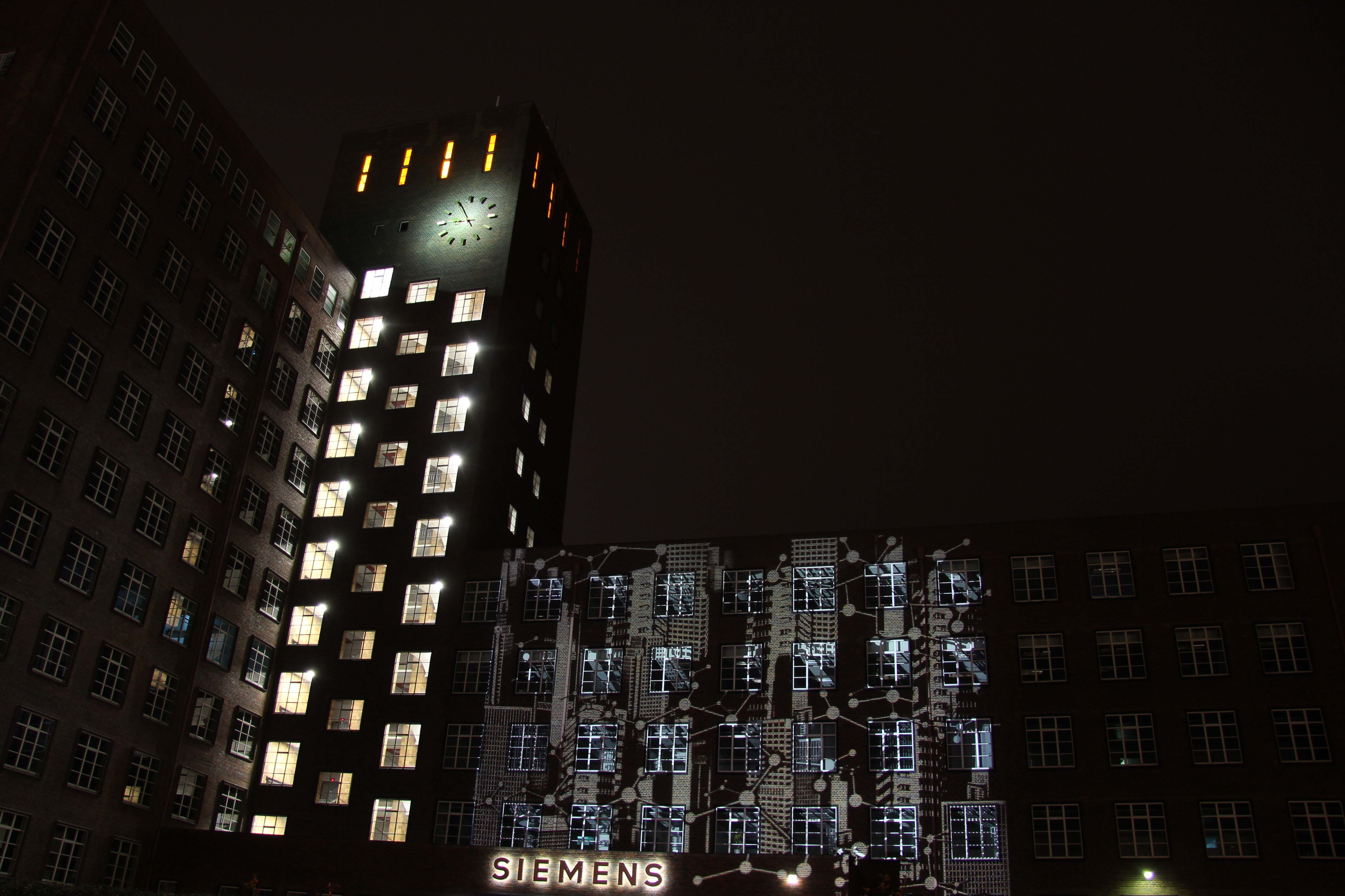 A light projection on the Siemens AG building at Siemensdamm 50 during the Festival of Lights in Berlin