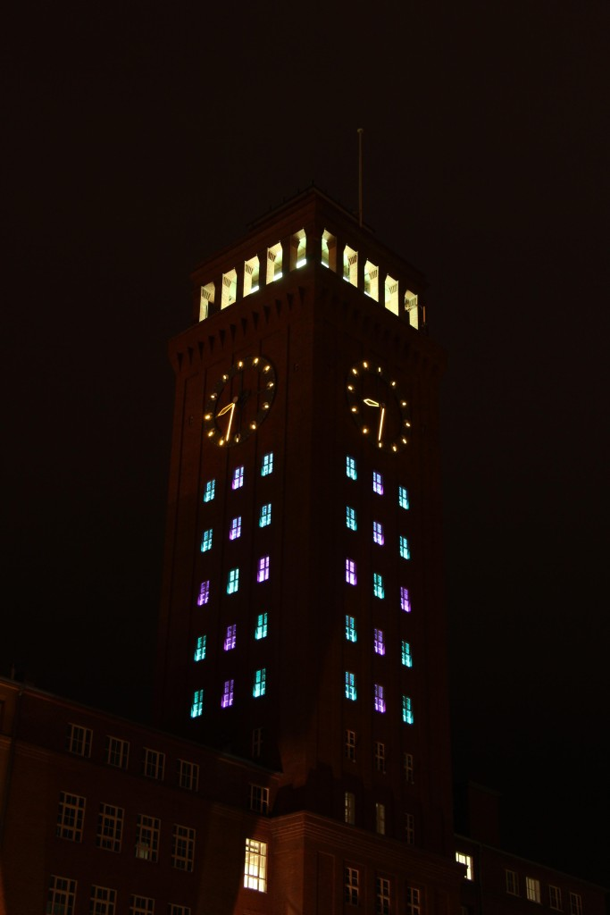 A light instillation in the Siemens AG clock tower at Technopark during the Berlin Festival of Lights