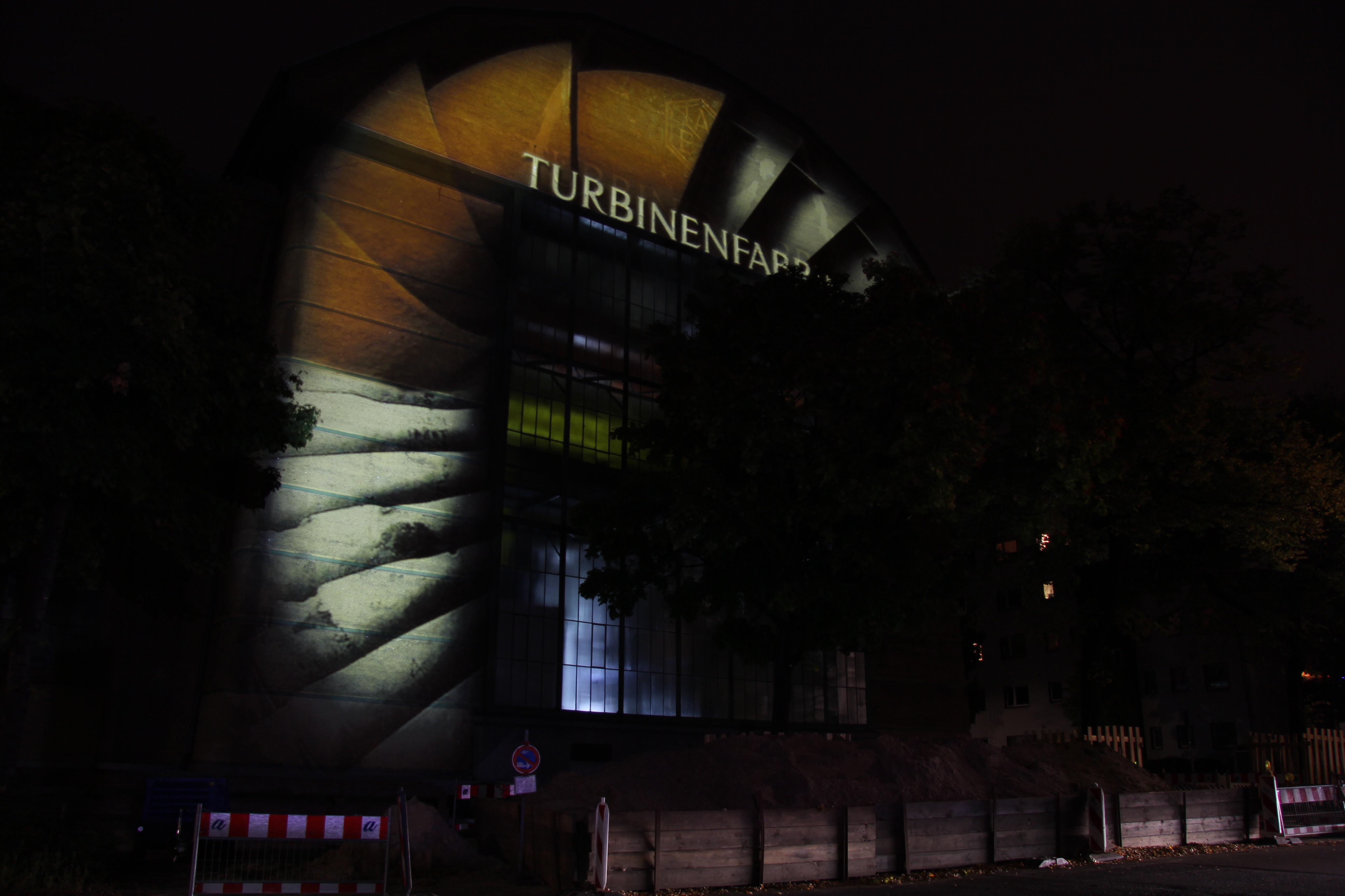 A light projection on the Siemens AG Turbinenfabrik during the Festival of Lights in Berlin