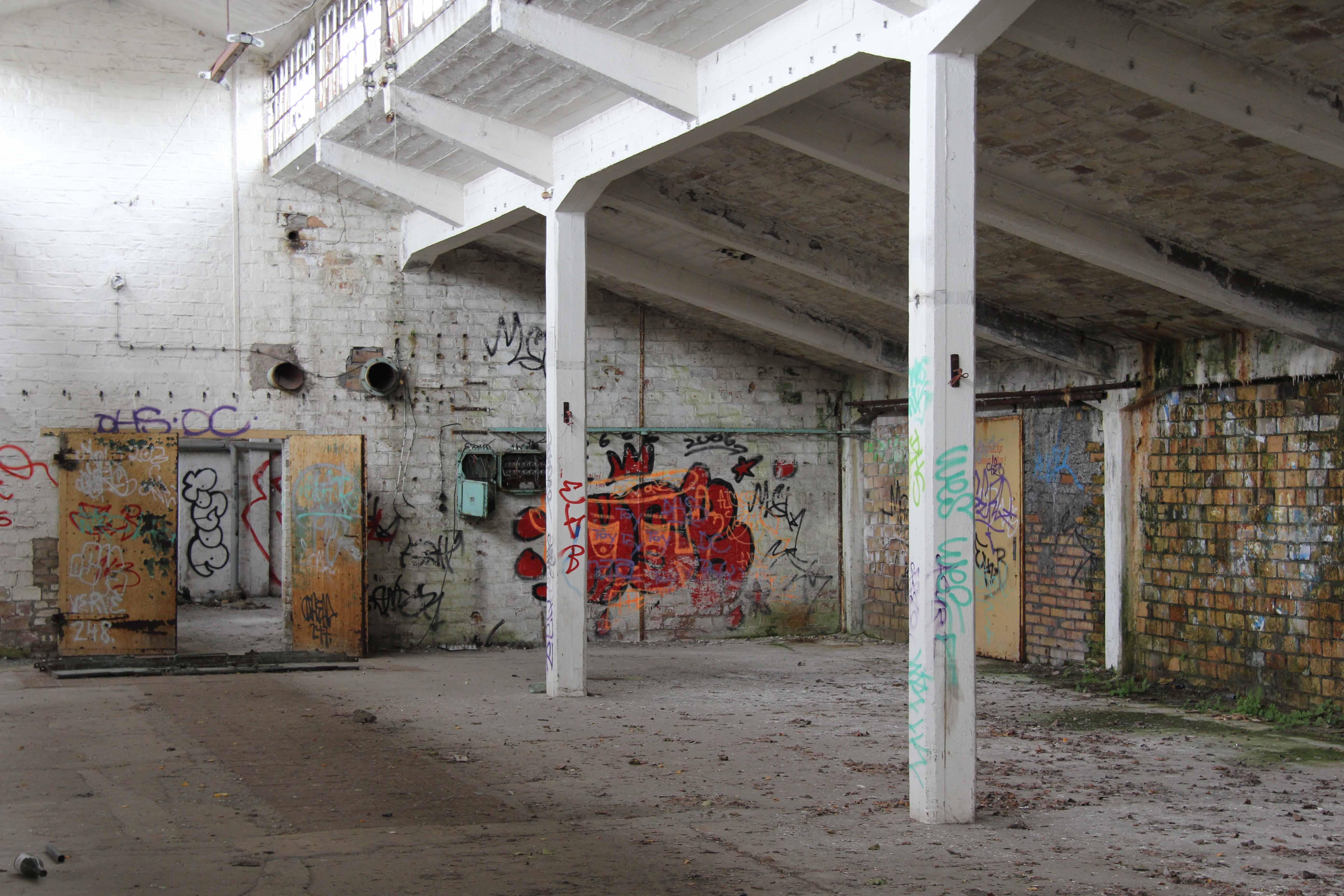 Sloped Ceiling at Papierfabrik Wolfswinkel, an abandoned paper mill near Berlin