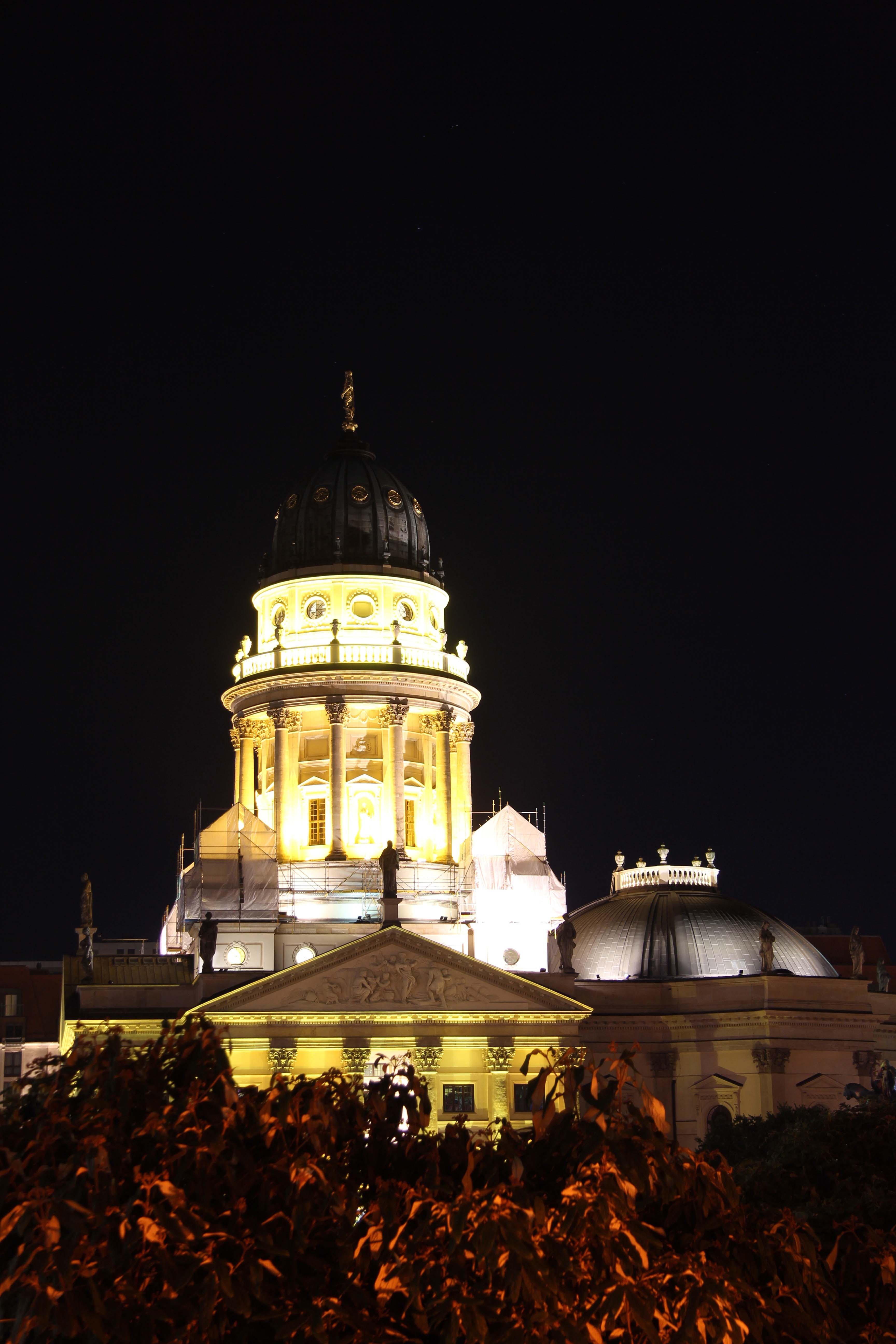 The Deutscher Dom (German Cathedral) lit up during the Festival of Lights in Berlin