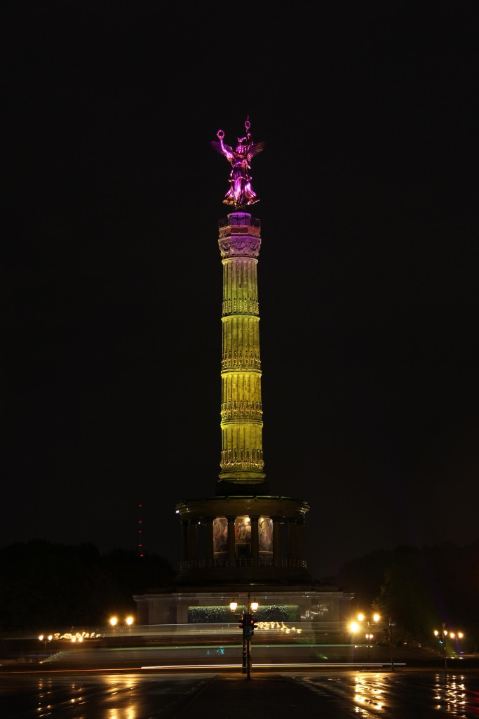The Sigessäule (Victory Column) lit up during the Berlin Festival of Lights