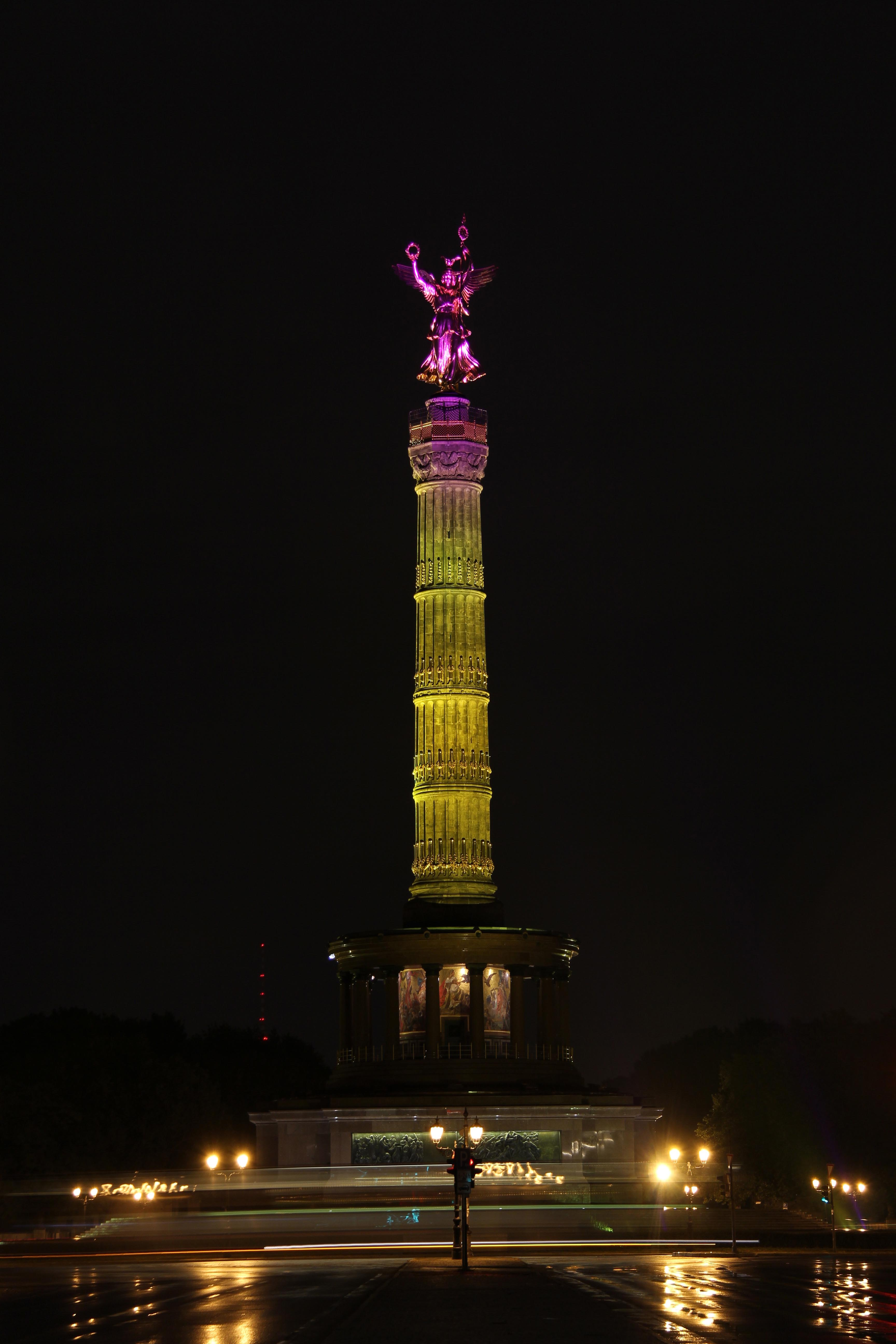 The Sigessäule (Victory Column) lit up during the Festival of Lights in Berlin