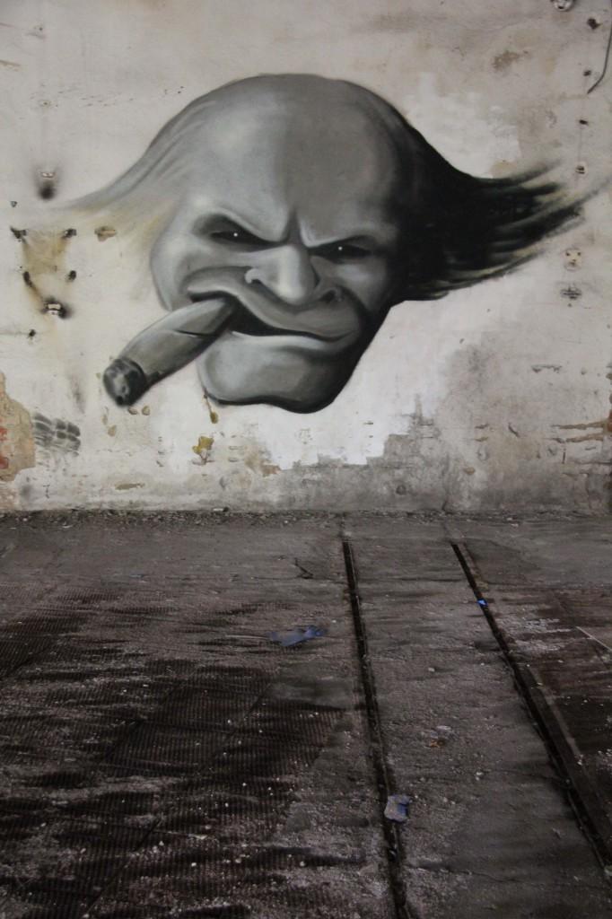 Going To See The Boss: Street Art by Unknown Artist at Papierfabrik Wolfswinkel near Berlin