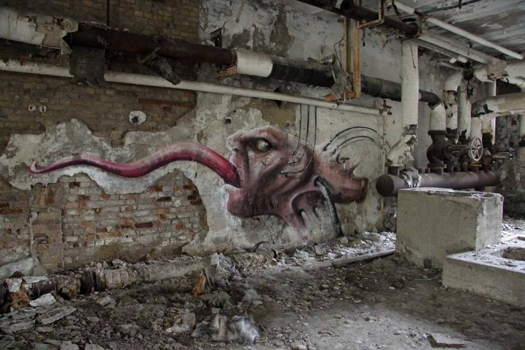 The Tongue: Street Art by Unknown Artist at Papierfabrik Wolfswinkel near Berlin